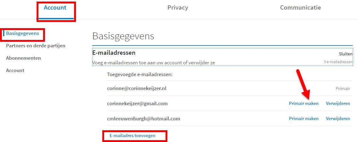 emailadres toevoegen linkedin