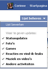 facebook lijsten updates