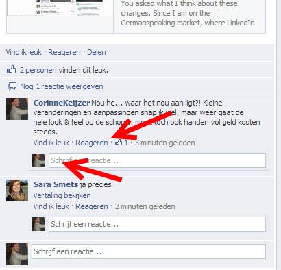 reacties toevoegen facebook