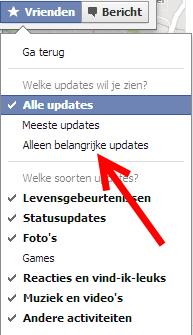 updates instellen facebook