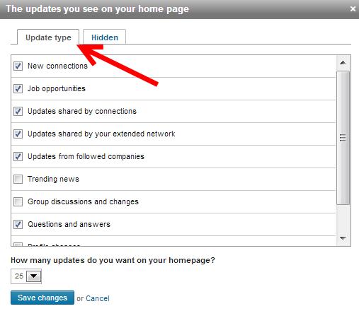 linkedin updates aanpassen