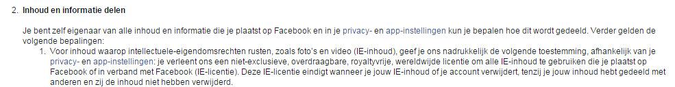 facebook voorwaarden nieuw