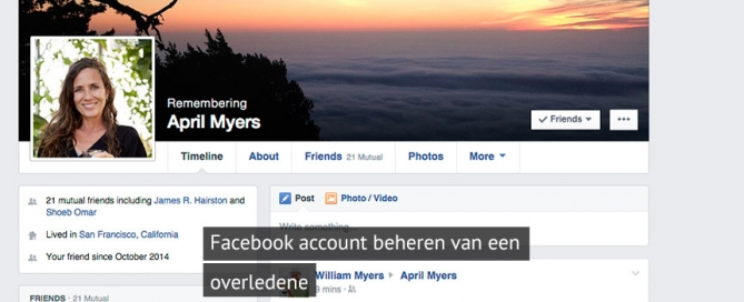 Facebook account beheren van een overledene