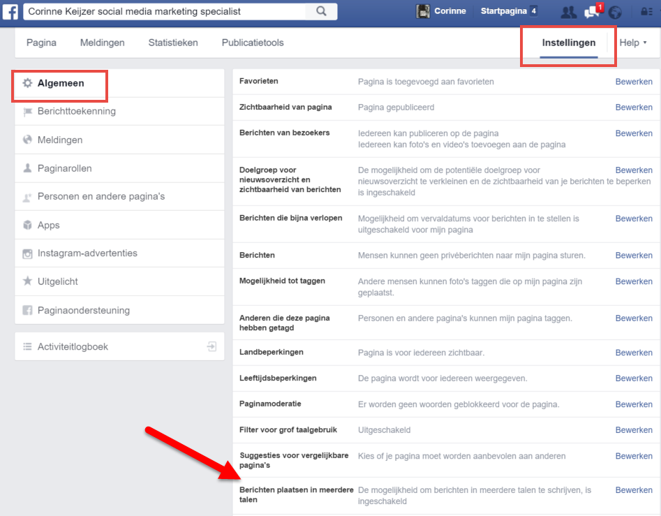 Facebook update meerdere talen
