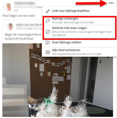 connecties updates verbergen linkedin