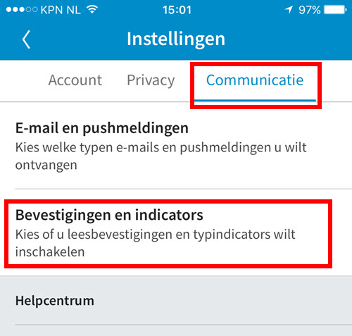 mobiele app linkedin instelling