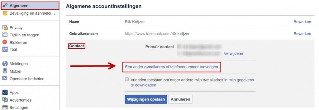 emailadres toevoegen facebook