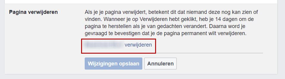 Facebookpagina verwijderen