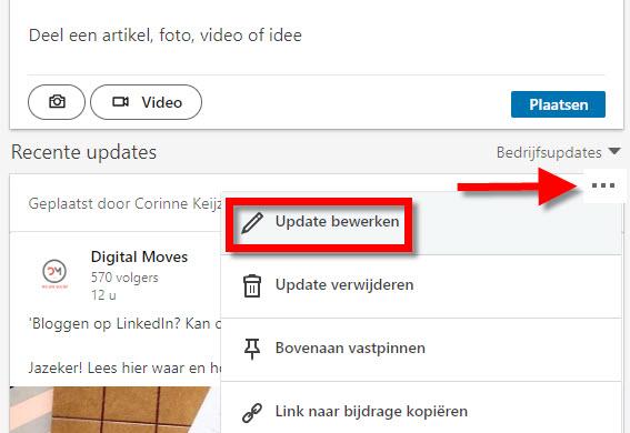 hoe bewerk je een update linkedin bedrijfspagina