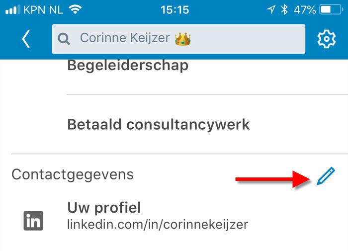 linkedin app contactgegevens