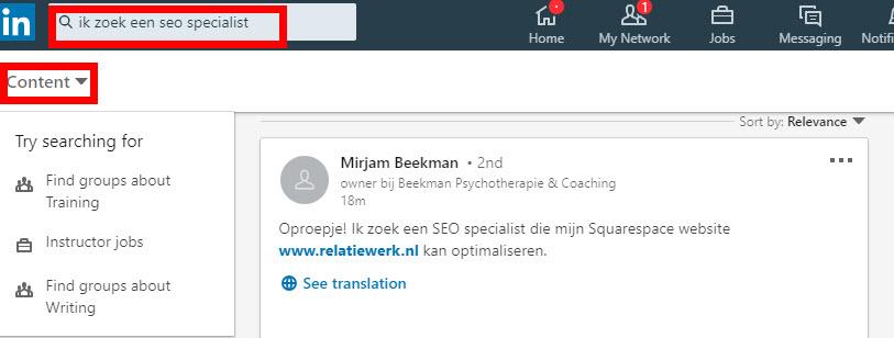 zoeken op content linkedin