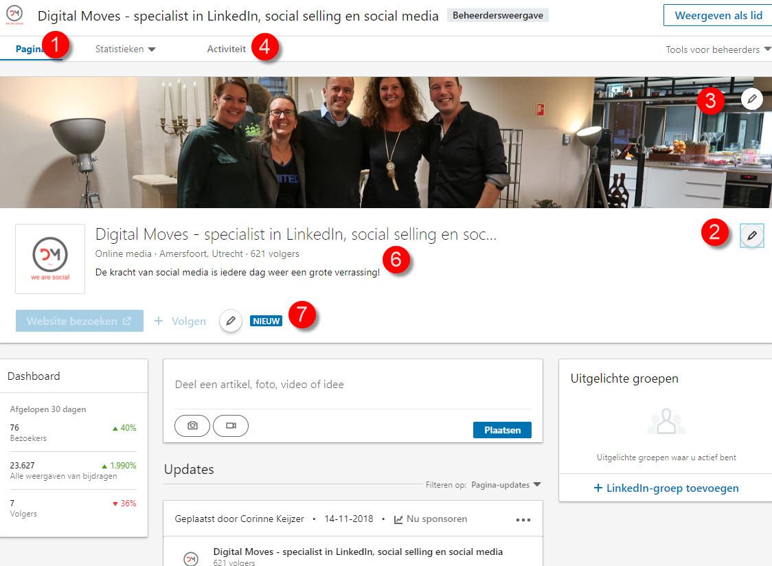 linkedin company page nieuwe layout