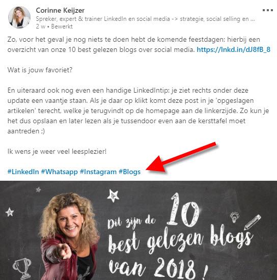 content en hashtags op linkedin