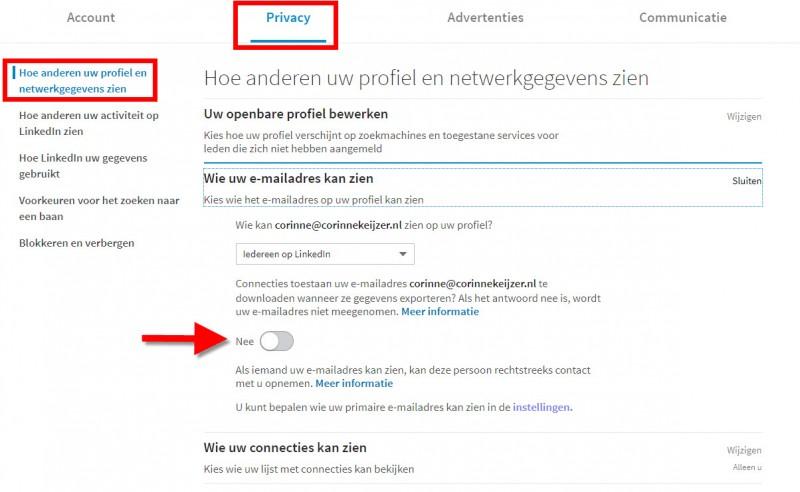 emailadres uit download linkedin