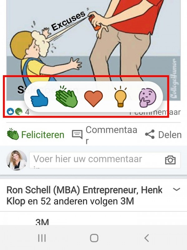 linkedin like opties