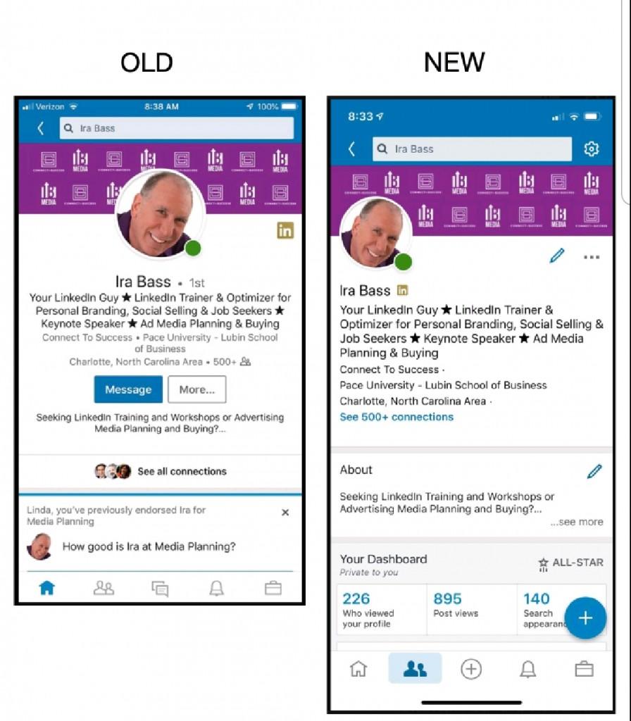 nieuwe app profiel linkedin