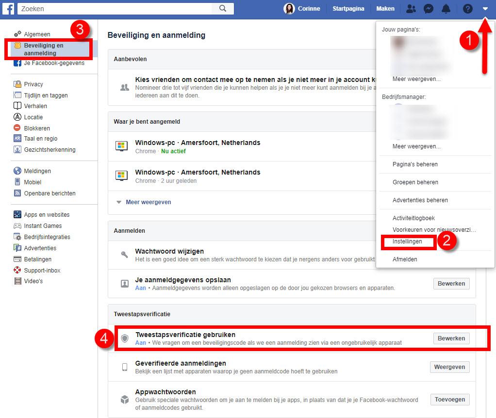 facebook code opvragen