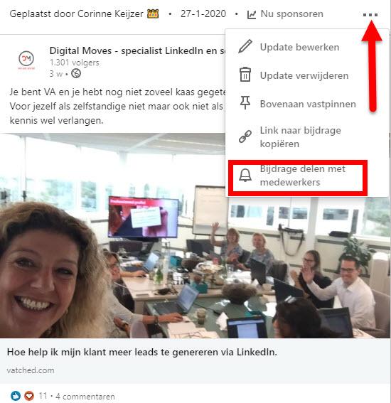 melding medewerker content linkedin bedrijfspagina