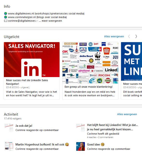 nieuwe optie 'Uitgelicht' LinkedIn