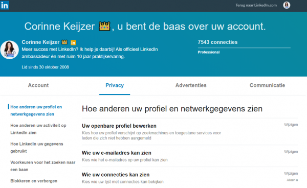 settings LinkedIn